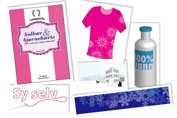 Illustrasjon over elementer/objekter som skal lages på Illustrator innføringkurs.