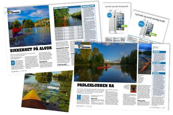 Eksempler på magasinsider du lager på InDesign-kurset