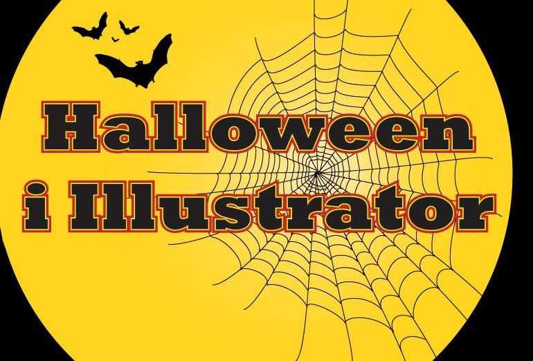 Illustrasjon med edderkoppnett og flaggermus og teksten Halloween i Illustrator